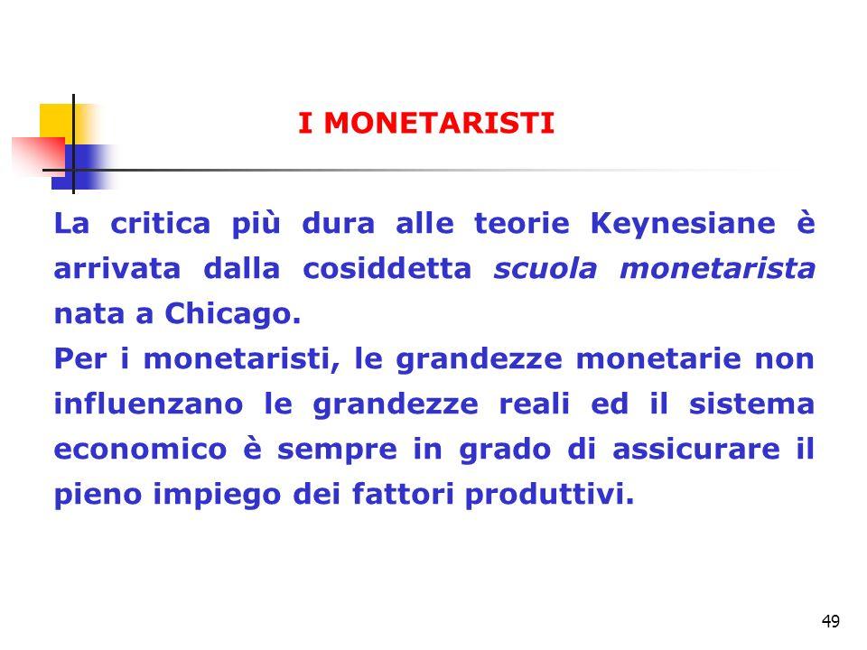 I MONETARISTI La critica più dura alle teorie Keynesiane è arrivata dalla cosiddetta scuola monetarista nata a Chicago.
