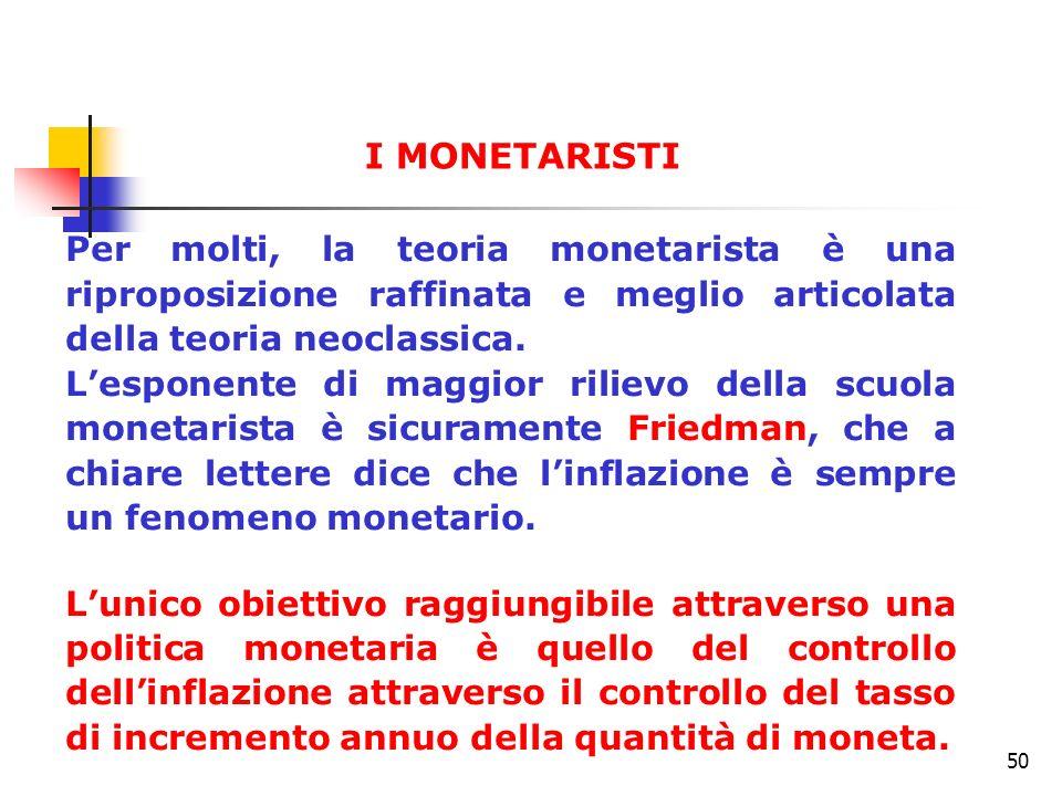 I MONETARISTI Per molti, la teoria monetarista è una riproposizione raffinata e meglio articolata della teoria neoclassica.