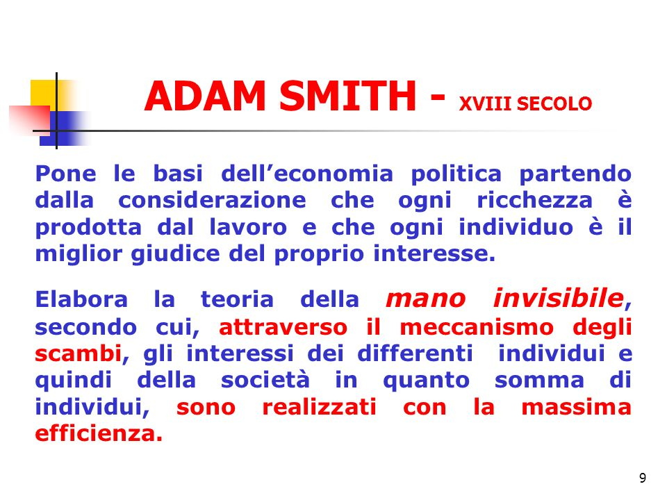 ADAM SMITH - XVIII SECOLO
