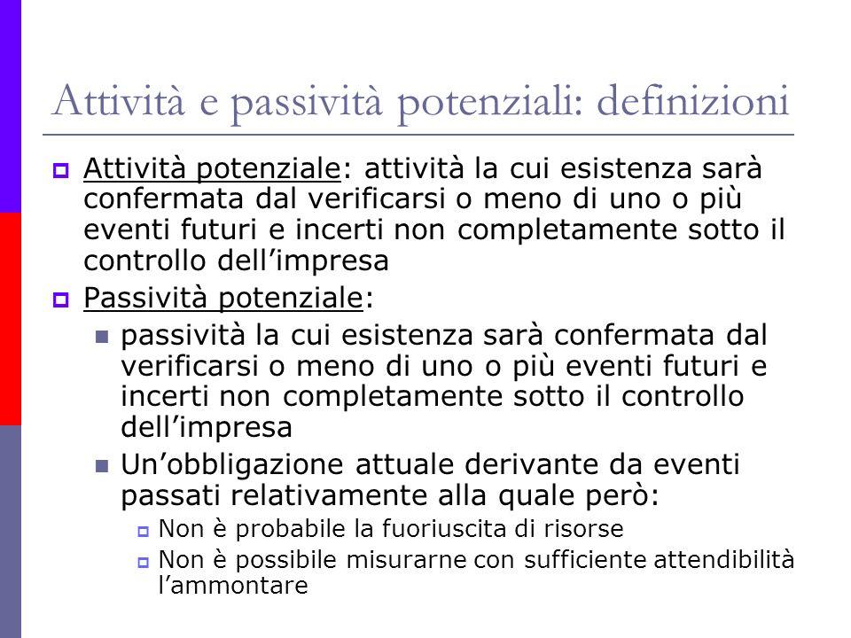 Attività e passività potenziali: definizioni
