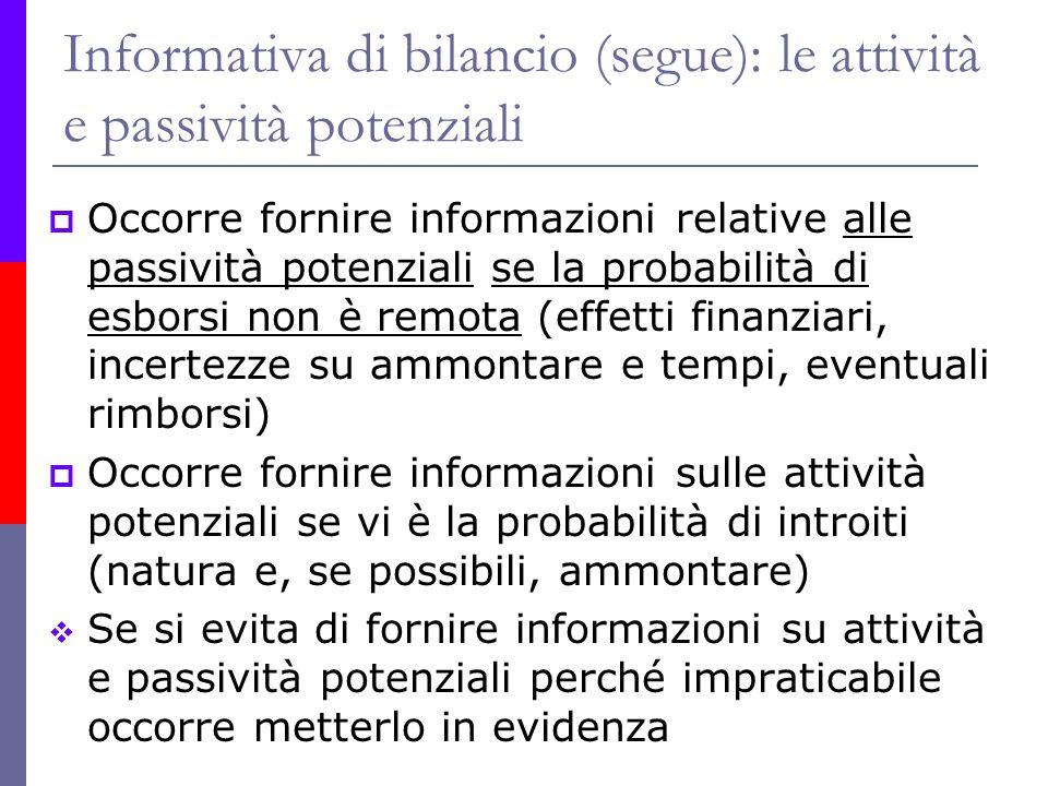 Informativa di bilancio (segue): le attività e passività potenziali