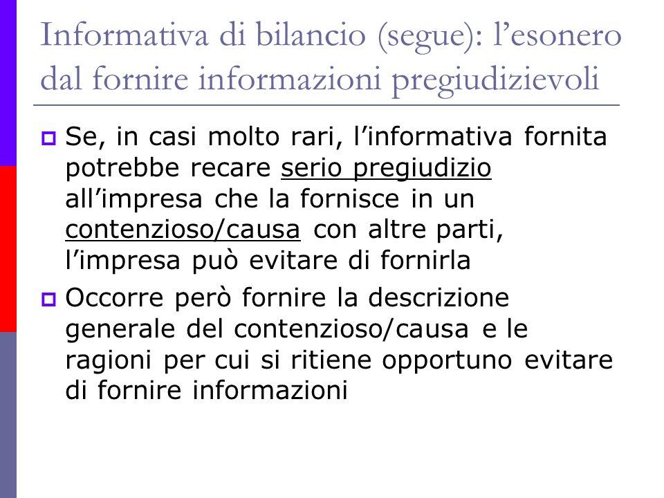 Informativa di bilancio (segue): l'esonero dal fornire informazioni pregiudizievoli