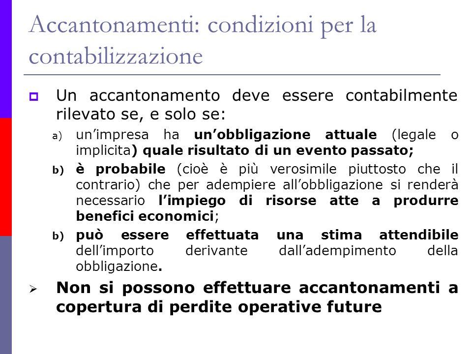 Accantonamenti: condizioni per la contabilizzazione
