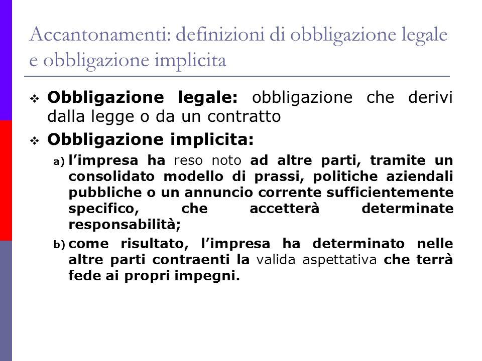 Accantonamenti: definizioni di obbligazione legale e obbligazione implicita