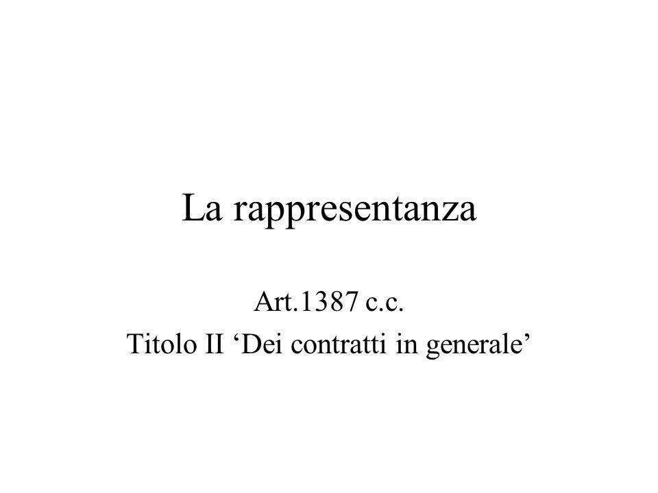 Art.1387 c.c. Titolo II 'Dei contratti in generale'
