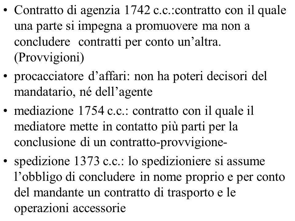 Contratto di agenzia 1742 c. c