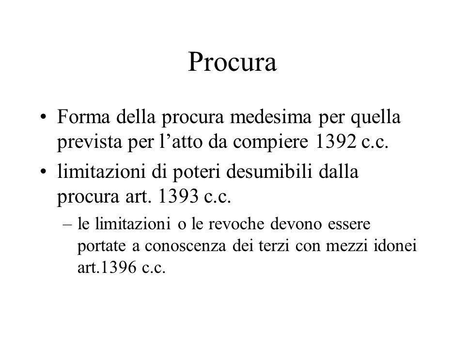 Procura Forma della procura medesima per quella prevista per l'atto da compiere 1392 c.c.