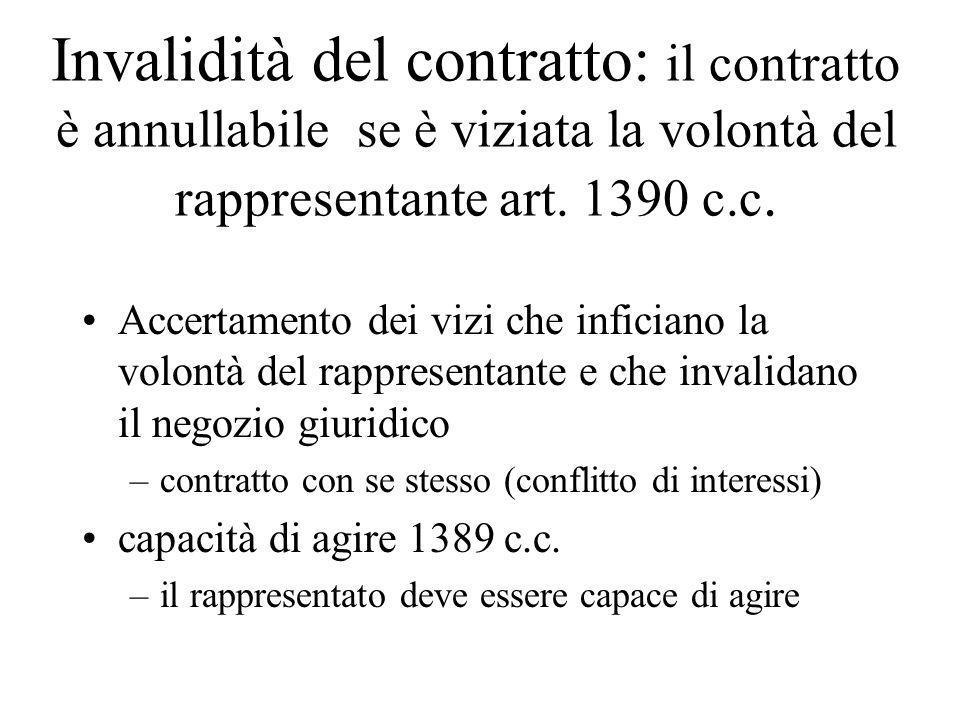 Invalidità del contratto: il contratto è annullabile se è viziata la volontà del rappresentante art. 1390 c.c.
