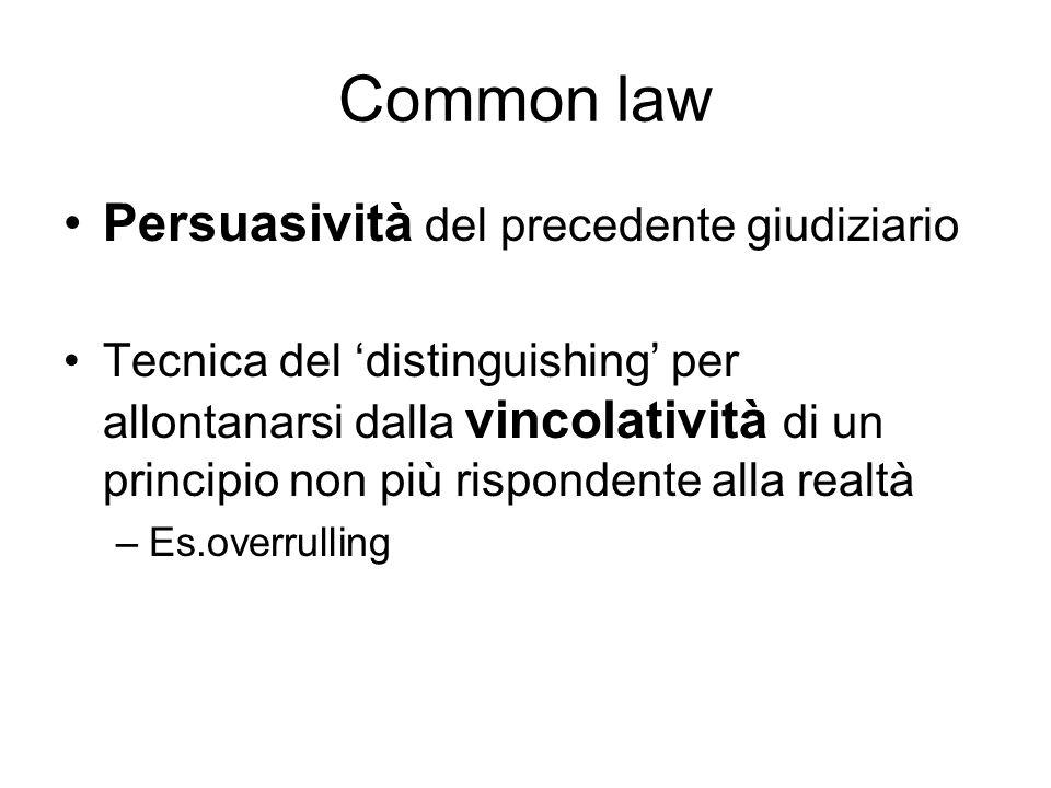 Common law Persuasività del precedente giudiziario