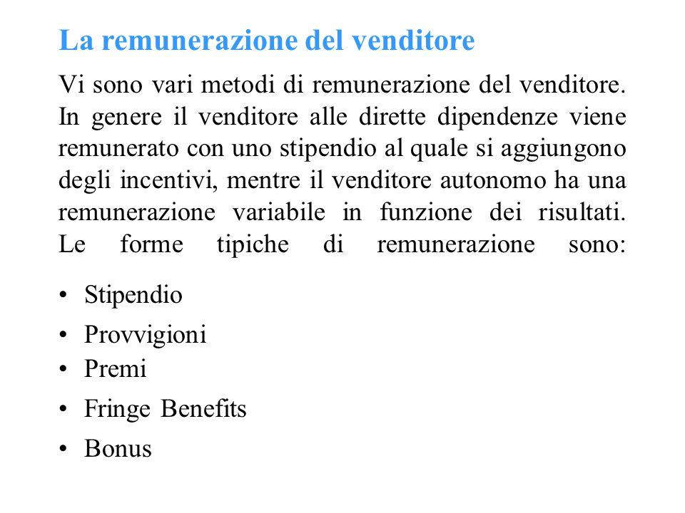 La remunerazione del venditore