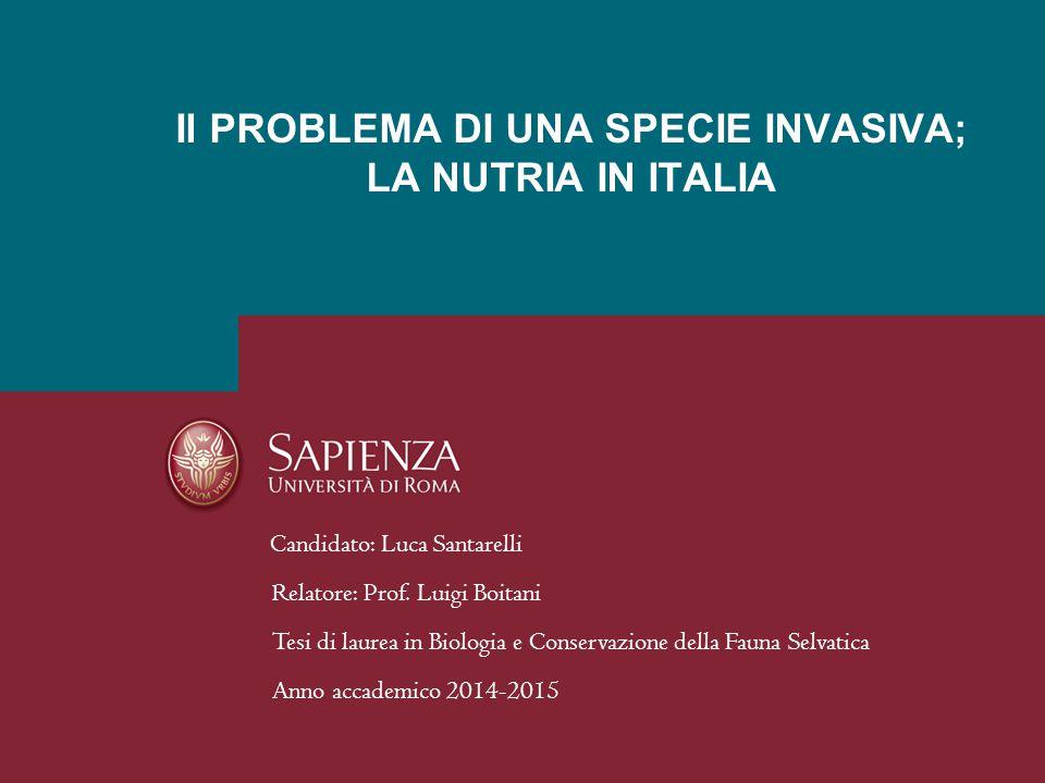 Il PROBLEMA DI UNA SPECIE INVASIVA; LA NUTRIA IN ITALIA