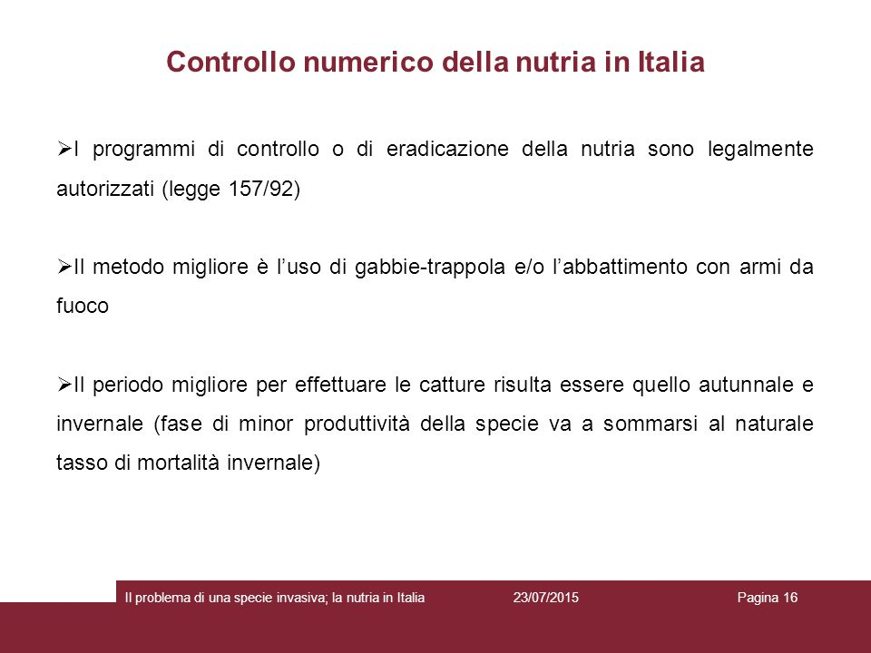 Controllo numerico della nutria in Italia