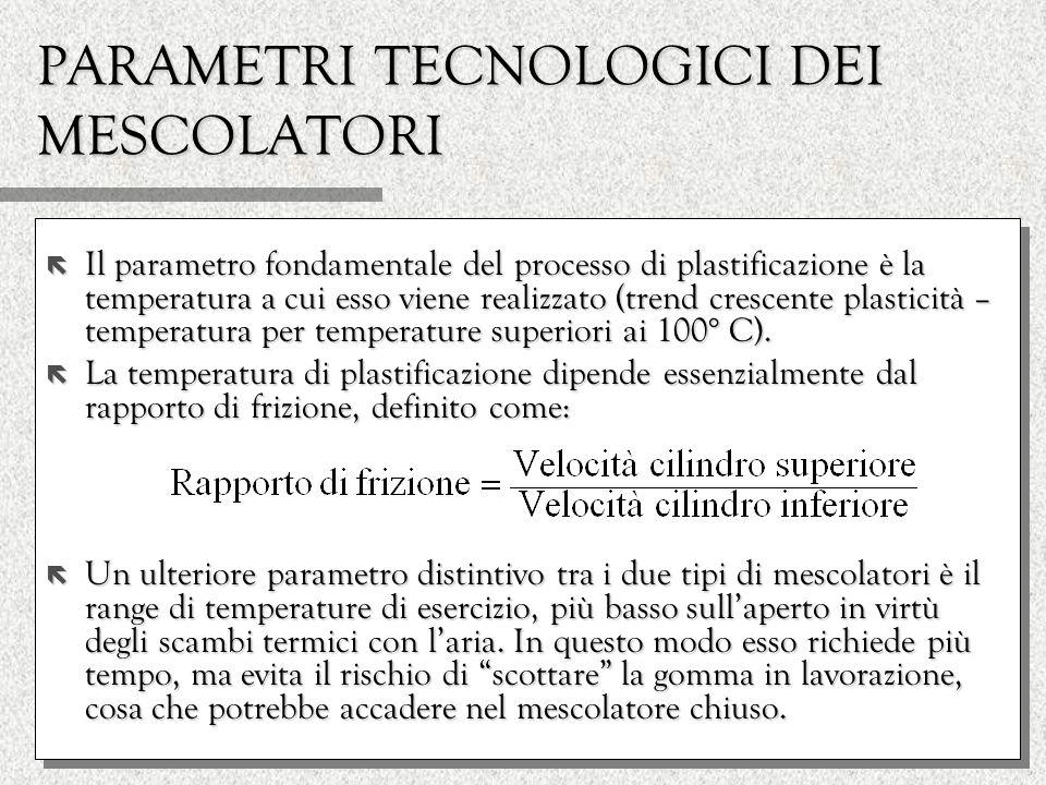 PARAMETRI TECNOLOGICI DEI MESCOLATORI