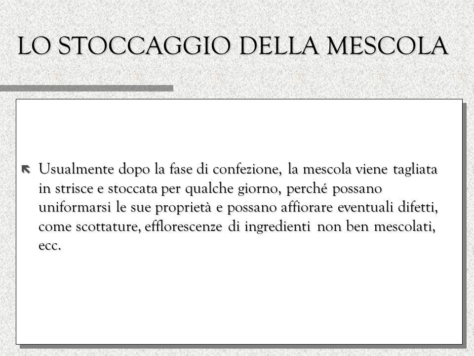 LO STOCCAGGIO DELLA MESCOLA