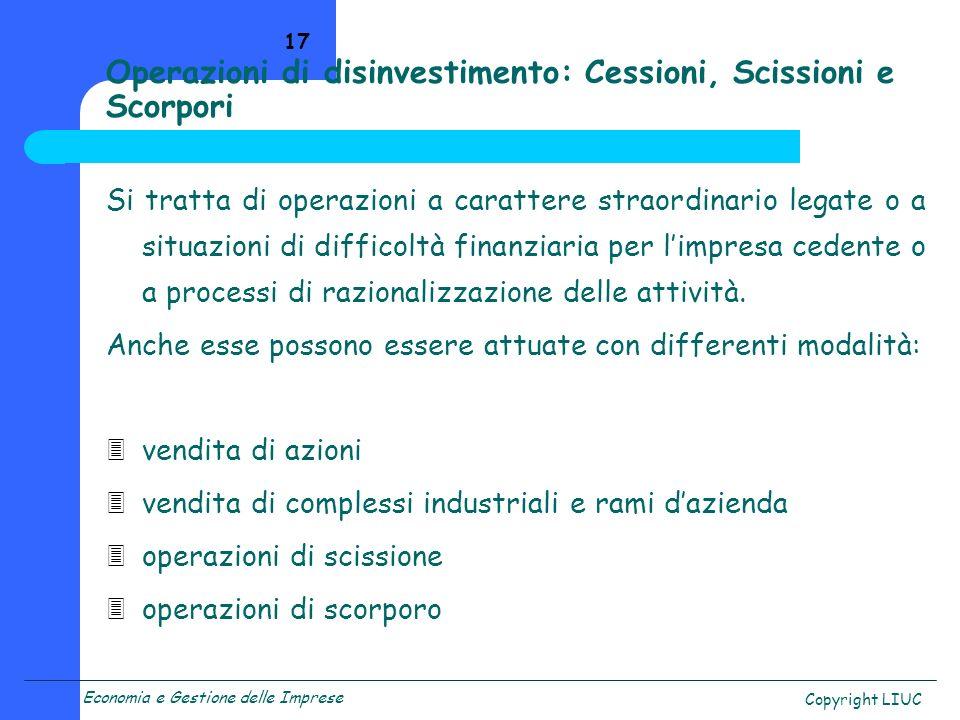 Operazioni di disinvestimento: Cessioni, Scissioni e Scorpori