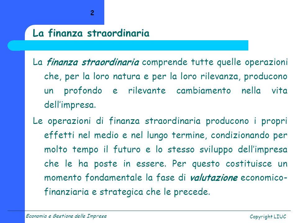 La finanza straordinaria