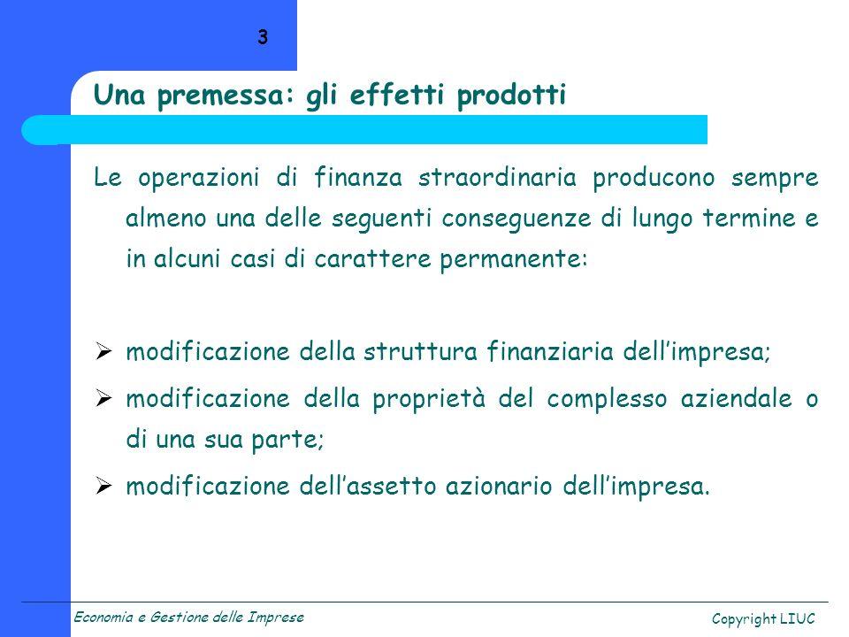Una premessa: gli effetti prodotti