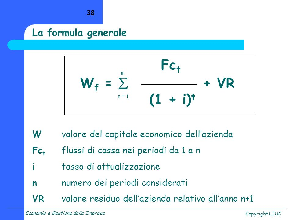 Wf =  + VR (1 + i)t La formula generale Fct