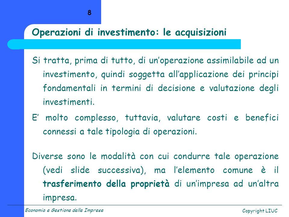 Operazioni di investimento: le acquisizioni