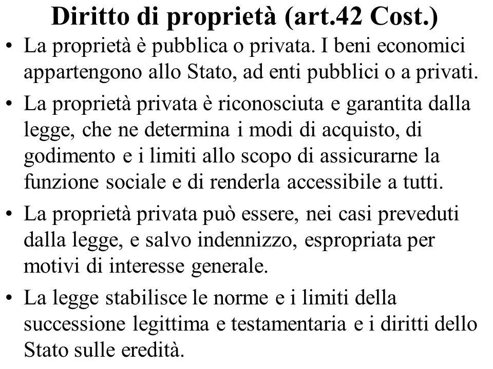 Diritto di proprietà (art.42 Cost.)