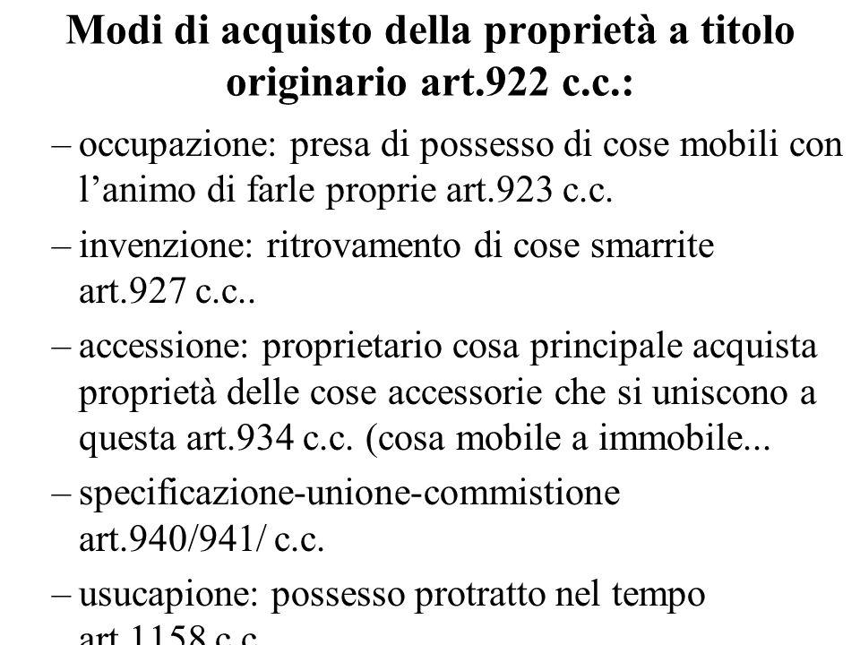 Modi di acquisto della proprietà a titolo originario art.922 c.c.: