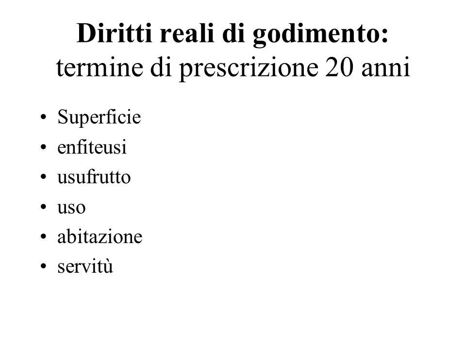 Diritti reali di godimento: termine di prescrizione 20 anni
