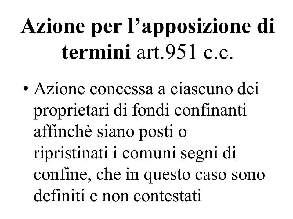 Azione per l'apposizione di termini art.951 c.c.