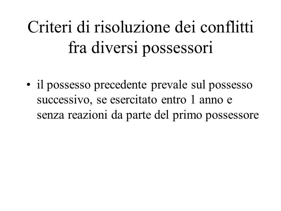Criteri di risoluzione dei conflitti fra diversi possessori