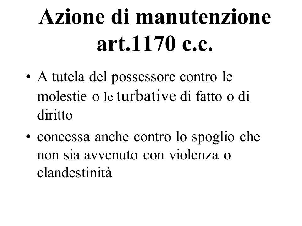 Azione di manutenzione art.1170 c.c.