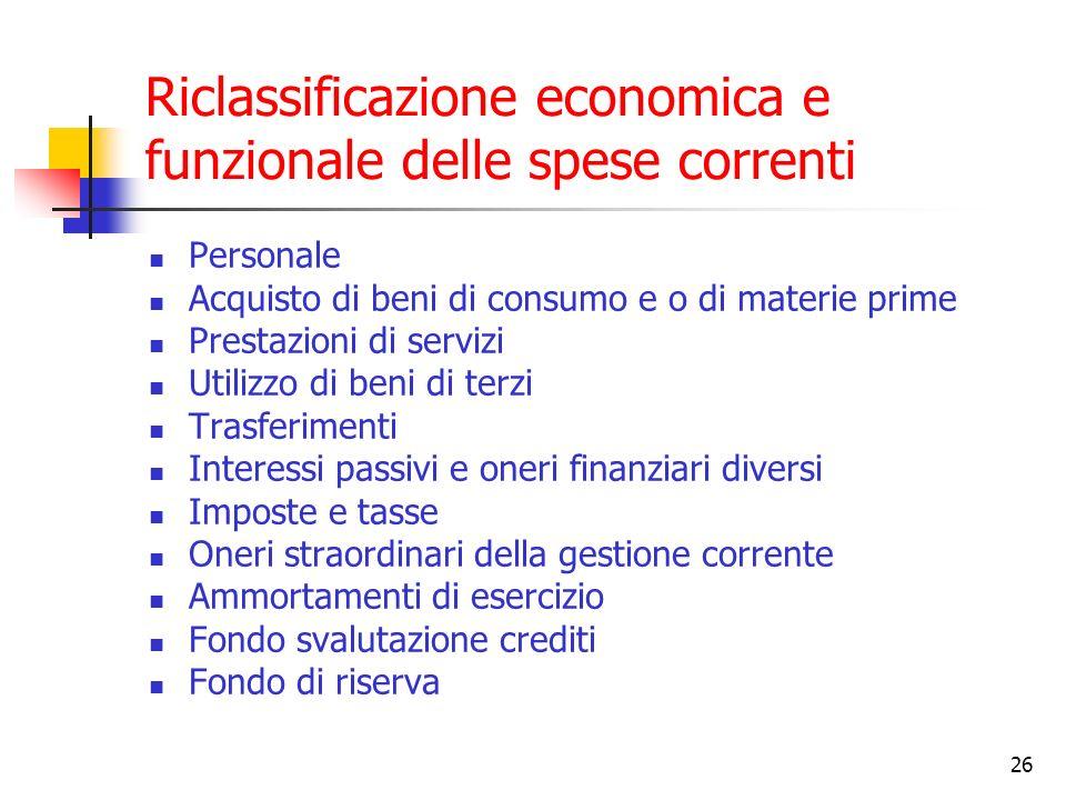 Riclassificazione economica e funzionale delle spese correnti