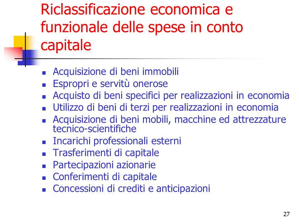 Riclassificazione economica e funzionale delle spese in conto capitale