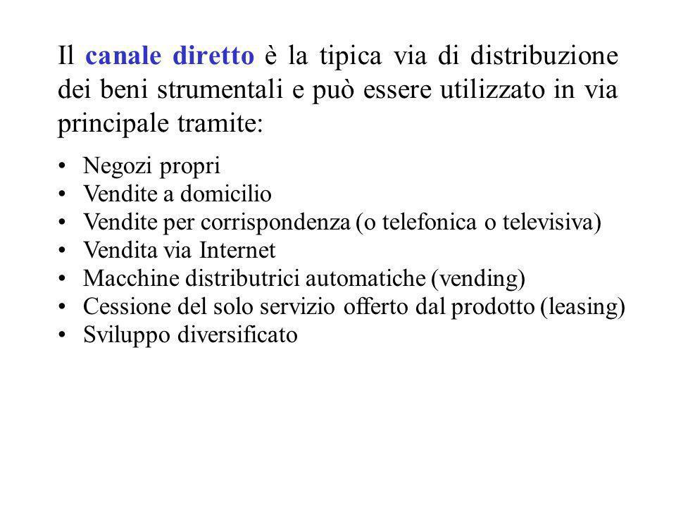 Il canale diretto è la tipica via di distribuzione dei beni strumentali e può essere utilizzato in via principale tramite: