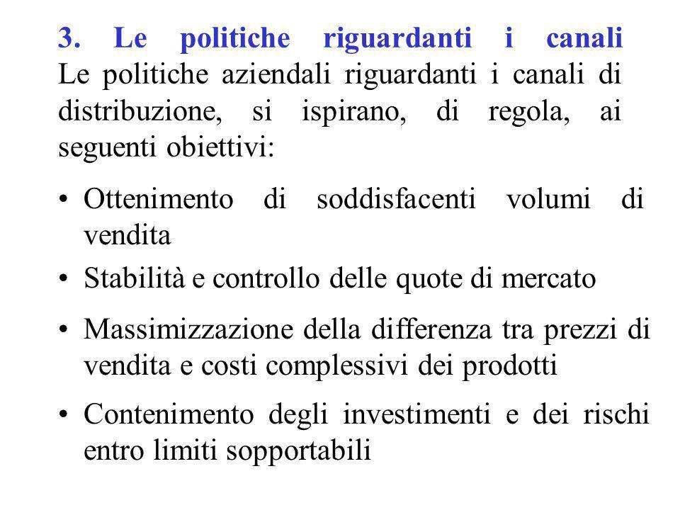 3. Le politiche riguardanti i canali Le politiche aziendali riguardanti i canali di distribuzione, si ispirano, di regola, ai seguenti obiettivi: