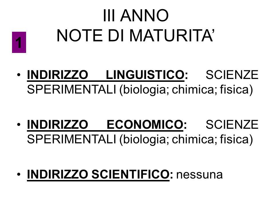 III ANNO NOTE DI MATURITA'