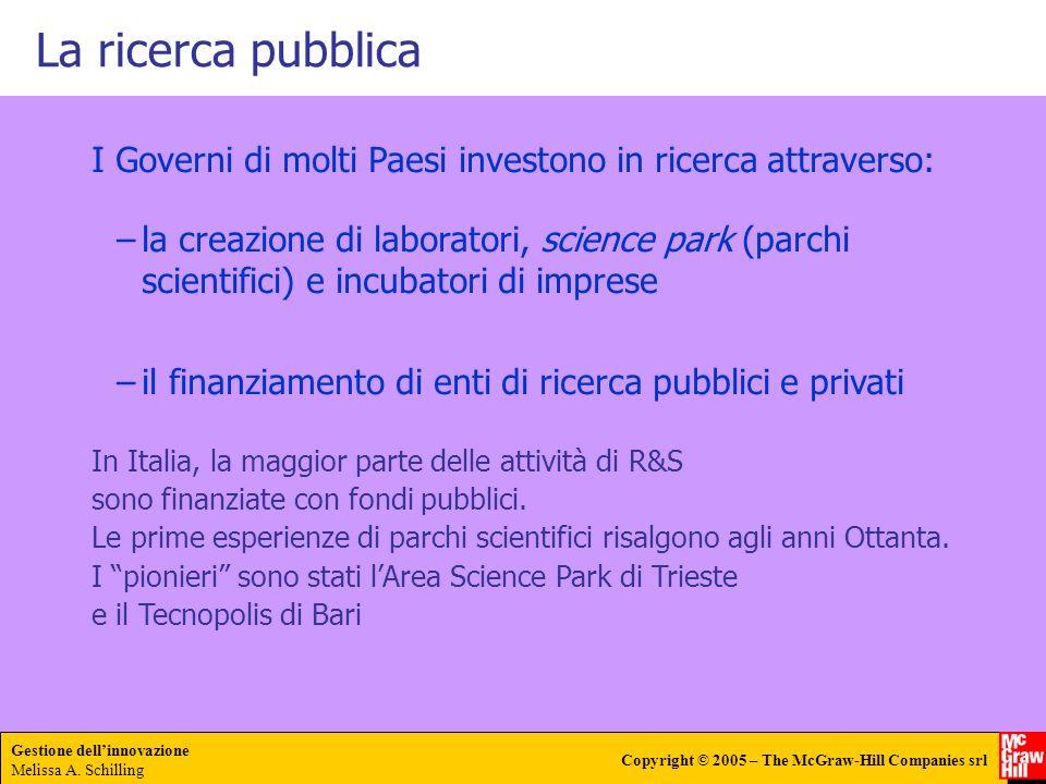 La ricerca pubblica I Governi di molti Paesi investono in ricerca attraverso: