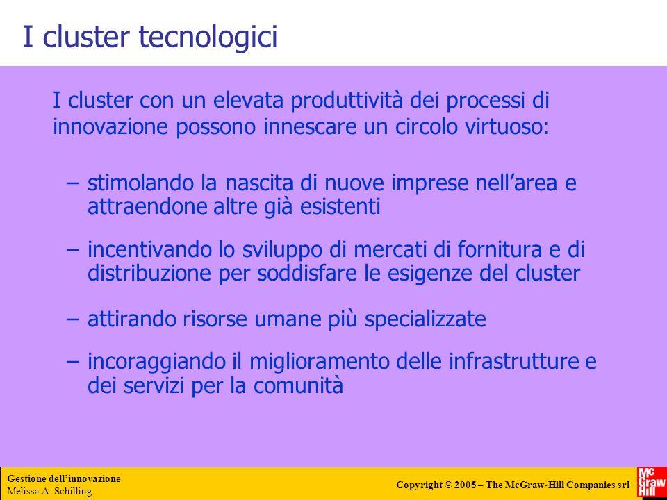 I cluster tecnologici I cluster con un elevata produttività dei processi di innovazione possono innescare un circolo virtuoso: