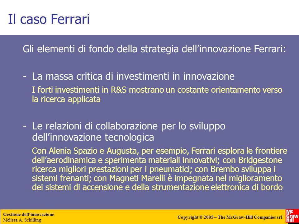 Il caso Ferrari Gli elementi di fondo della strategia dell'innovazione Ferrari: La massa critica di investimenti in innovazione.