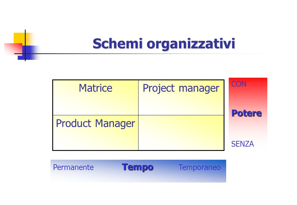 Schemi organizzativi Matrice Project manager Product Manager Potere