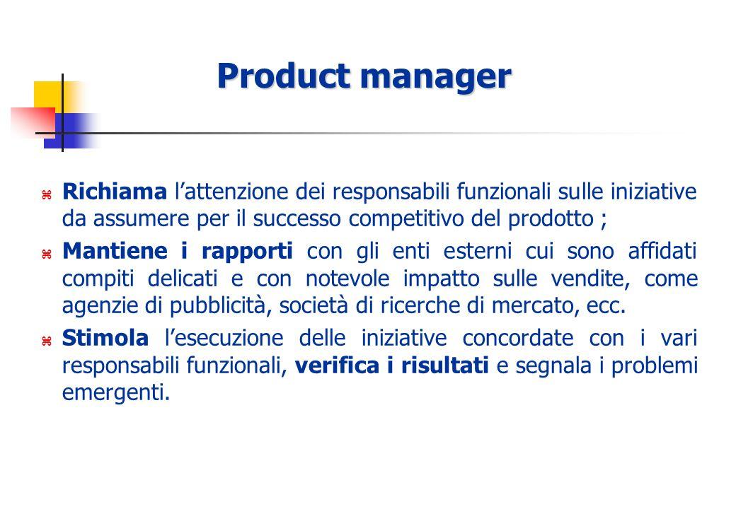 Product manager Richiama l'attenzione dei responsabili funzionali sulle iniziative da assumere per il successo competitivo del prodotto ;