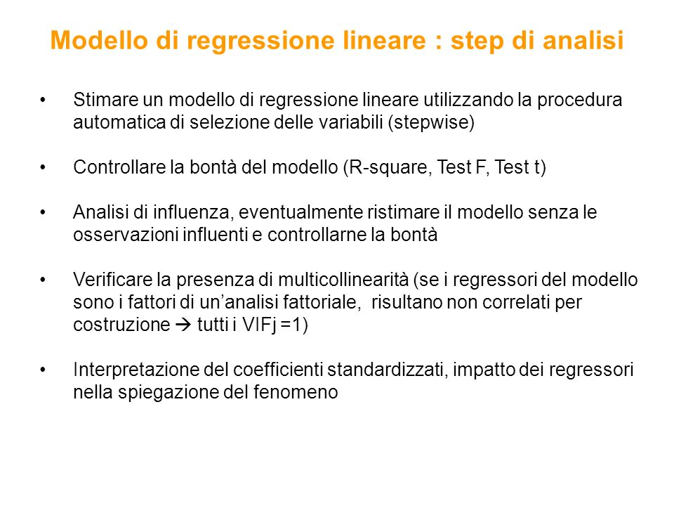 Modello di regressione lineare : step di analisi