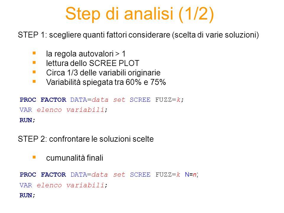 Step di analisi (1/2) STEP 1: scegliere quanti fattori considerare (scelta di varie soluzioni) la regola autovalori > 1.
