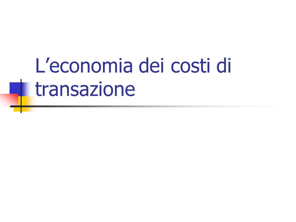 L'economia dei costi di transazione