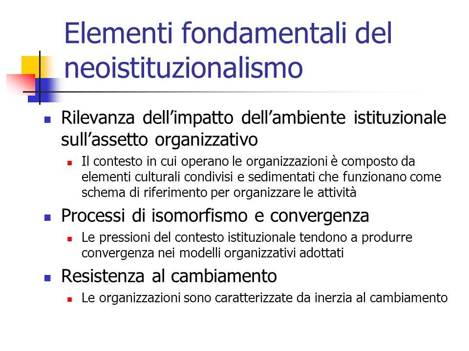 Elementi fondamentali del neoistituzionalismo