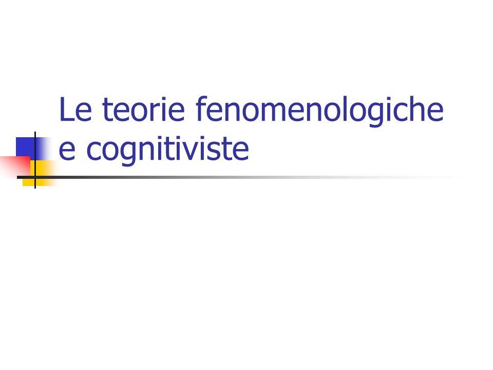 Le teorie fenomenologiche e cognitiviste