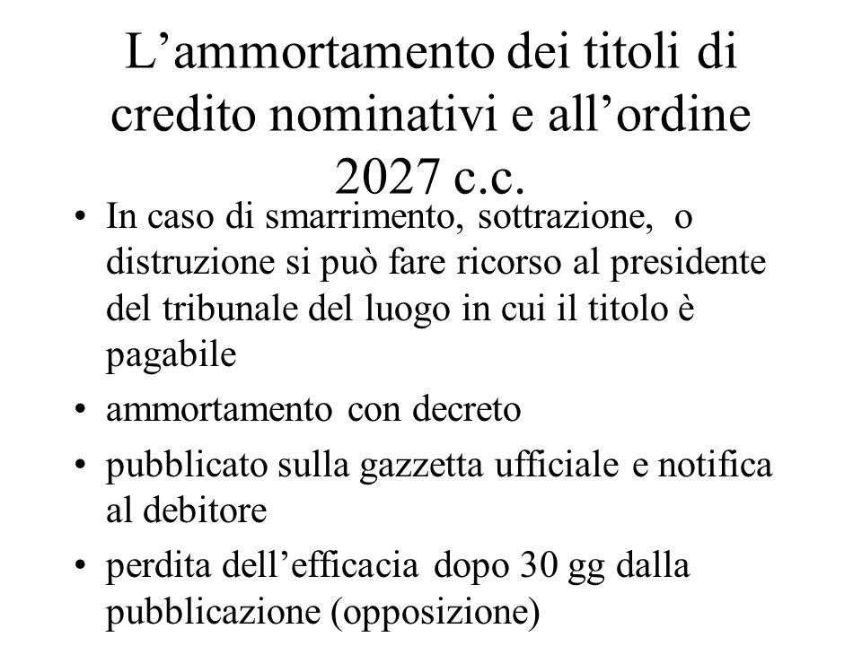 L'ammortamento dei titoli di credito nominativi e all'ordine 2027 c.c.