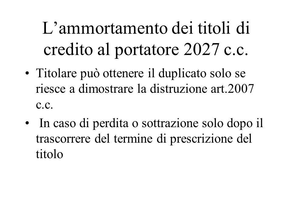 L'ammortamento dei titoli di credito al portatore 2027 c.c.