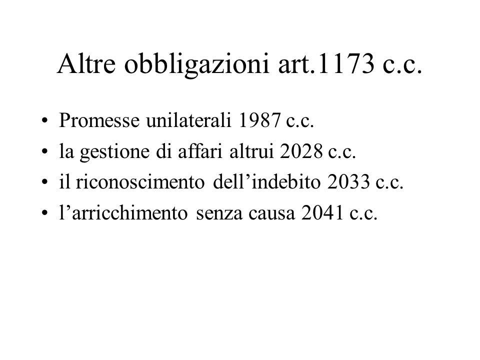 Altre obbligazioni art.1173 c.c.