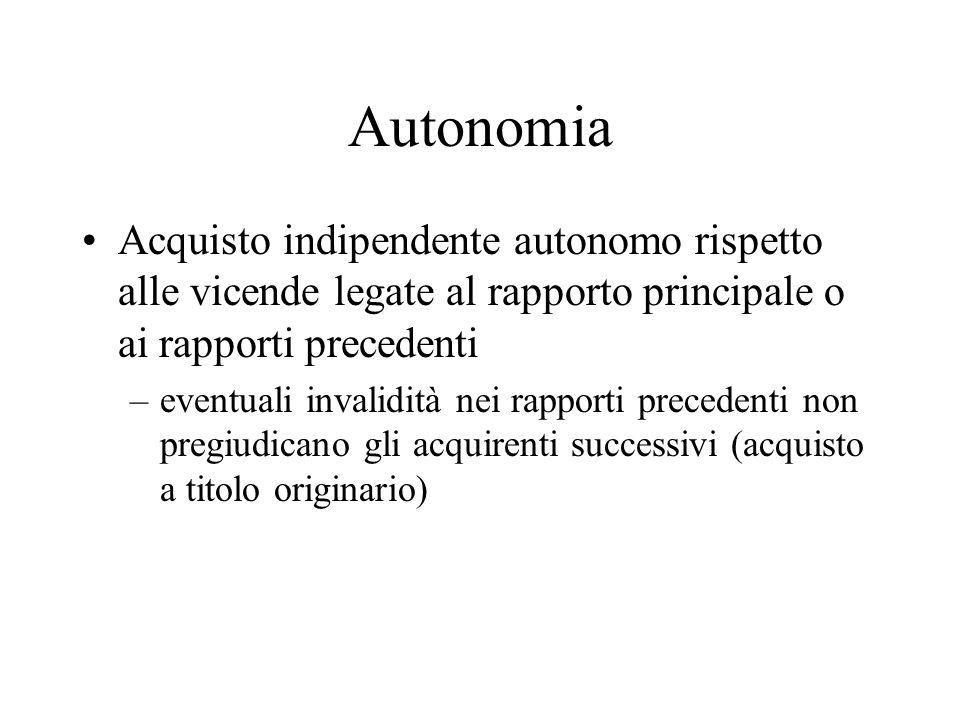 Autonomia Acquisto indipendente autonomo rispetto alle vicende legate al rapporto principale o ai rapporti precedenti.