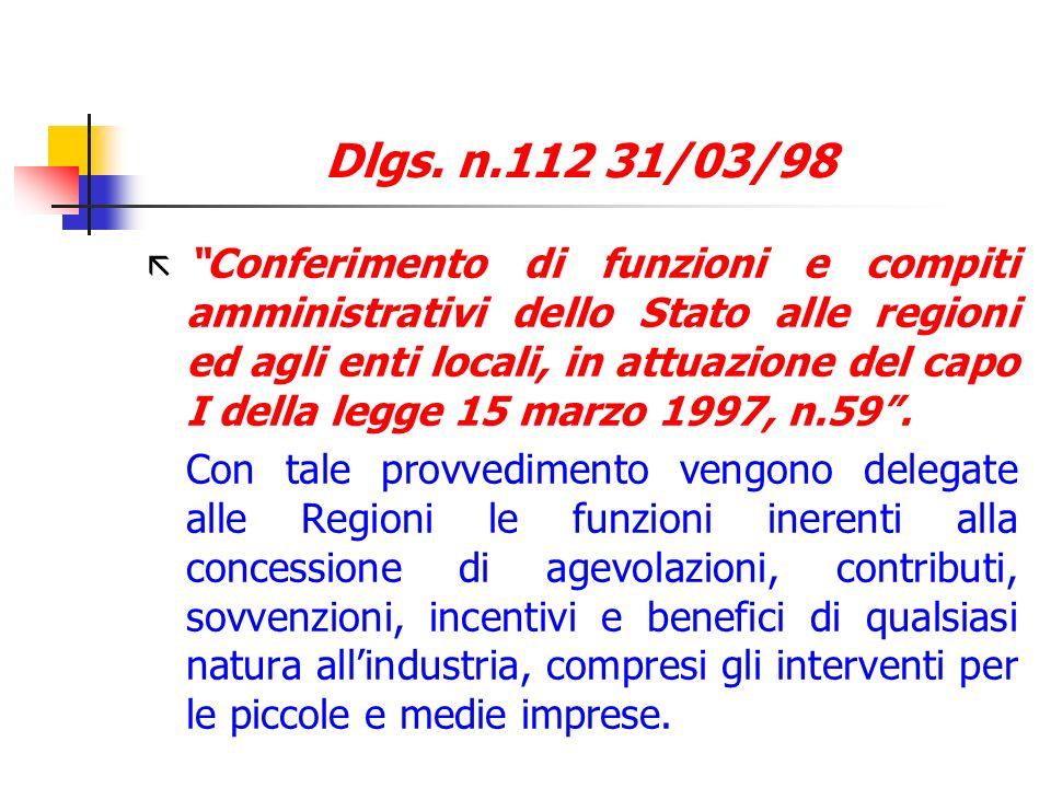 Dlgs. n.112 31/03/98