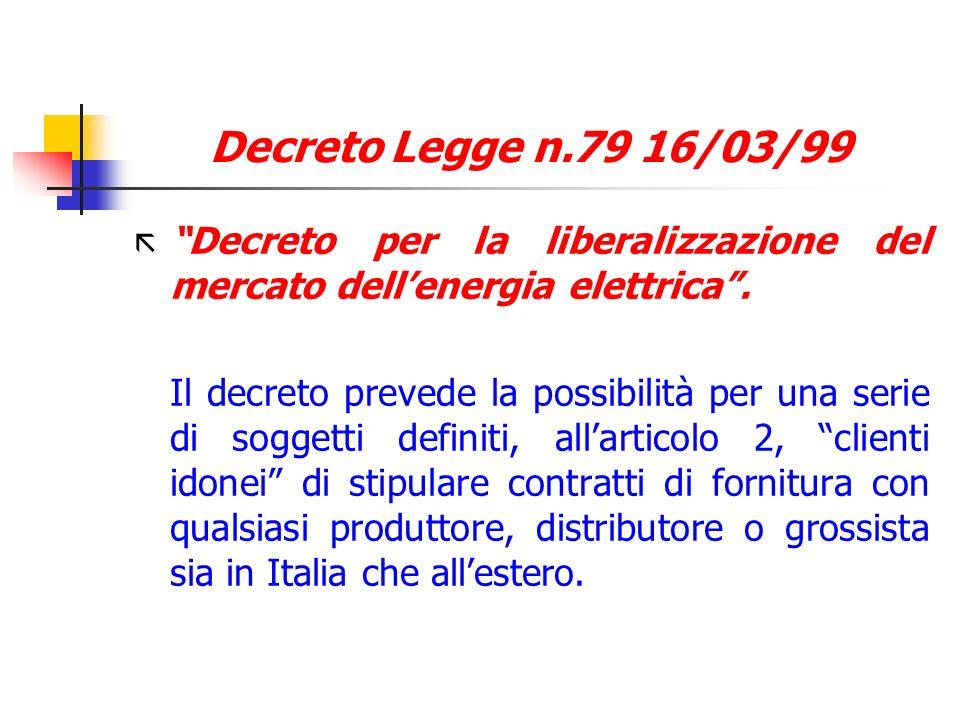 Decreto Legge n.79 16/03/99 Decreto per la liberalizzazione del mercato dell'energia elettrica .